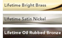 All Emtek hardware is available in these finishes: Bright Brass, Satin Nickel, Oil Rubbed Bronze