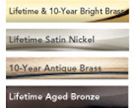 All Schlage classic hardware is available in these finishes: Bright Brass, Satin Nickel, Antique Brass, Aged Bronze