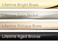 All Schlage Vintage hardware is available in these finishes: Bright Brass, Satin Nickel, Antique Brass, Aged Bronze