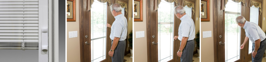 ProVia internal blinds example photo. Blinds on the left and the following three images to the right show a man using the internal blind system on a door.