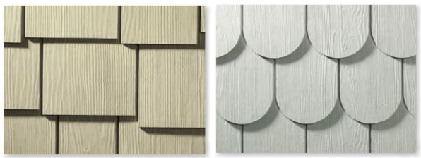 side-by-side close ups of staggered edge siding profile (left) and half-round/scalloped siding (right)