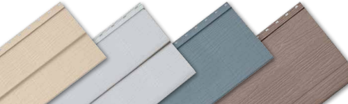 "Satinwood Select Steel siding profiles: Double 4"" Clapboard, Double 5"" Clapboard, Single 8"" Clapboard, Single 12"" Vertical Board & Batten."