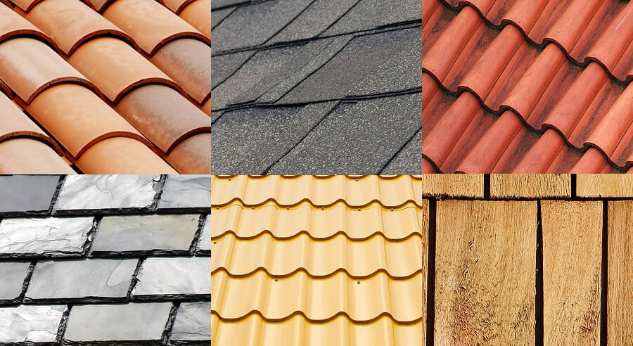 A medley of asphalt shingles, clay and slate tiles, and wood shakes.