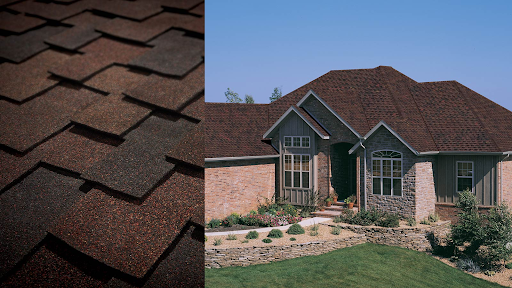 Two photos juxtaposed: one of a layer of shingles, the other a large home with a new tamko roof.