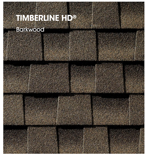 Large samples of GAF Timberline shingles in Barkwood.