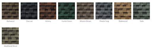 Samples of GAF asphalt shingles.