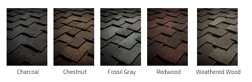 Samples of Tamko asphalt shingle colors.