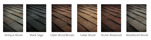 Six shingle color samples from the Tamko Hertiage Woodgate laminated asphalt line.
