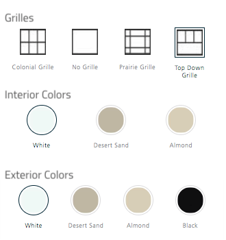 Graphic showing customization options for Jeld-Wen V-4500 windows. Grilles: colonial, no grille, prairie grille, top down grille; Interior colors: white, desert sand, almond; Exterior colors: white, desert sand, almond, black