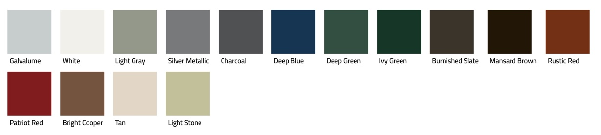 Color samples of AP panel roofing.