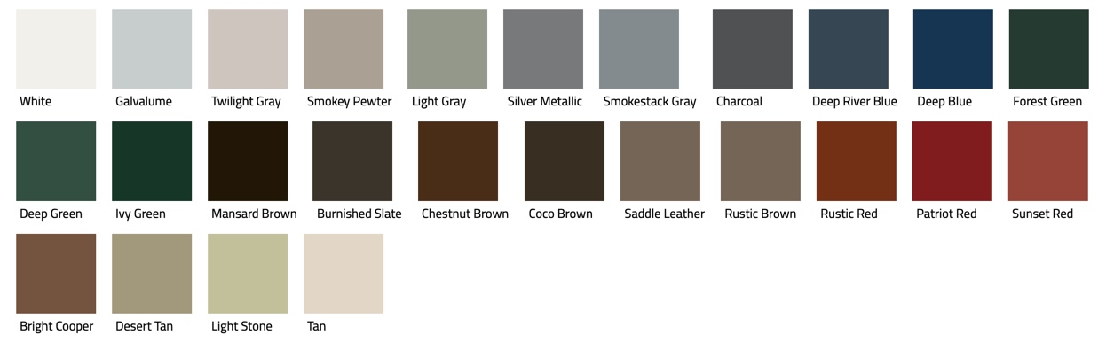 Color sample of Mueller CF and CFS roofing.