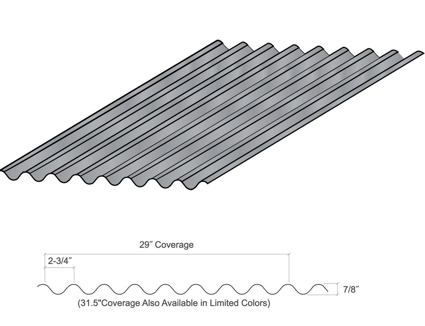 Diagram of corrugated panel roof with labeled measurements.