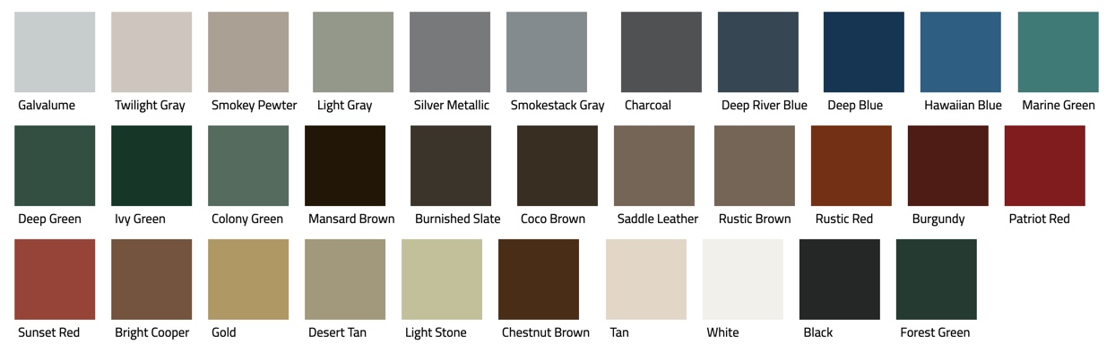 Corrugated panel roof color samples