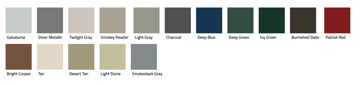 Color samples for MSL panel roof