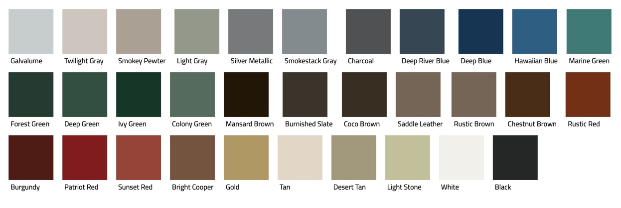 Color samples for U panel roof.