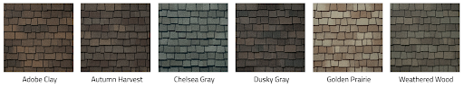 Glenwood shingle color swatches.