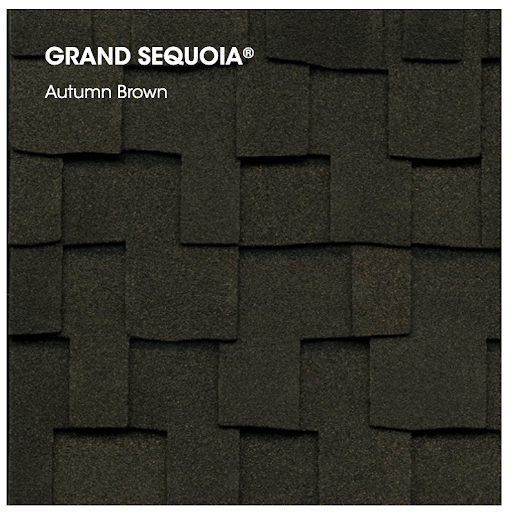 Designer roofing shingles in Autumn Brown.