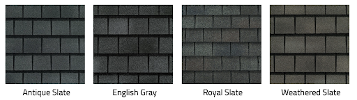 Four GAF Slateline asphalt shingles in different colors.