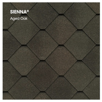 Swatch of Sienna shingles in aged oak.