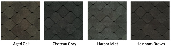 Swatches of Sienna shingles in multiple colors.
