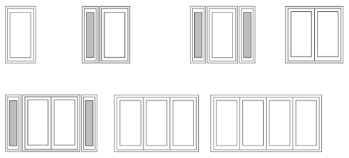 Illustration of examples of french door configurations