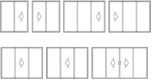 Illustration of sliding door configurations