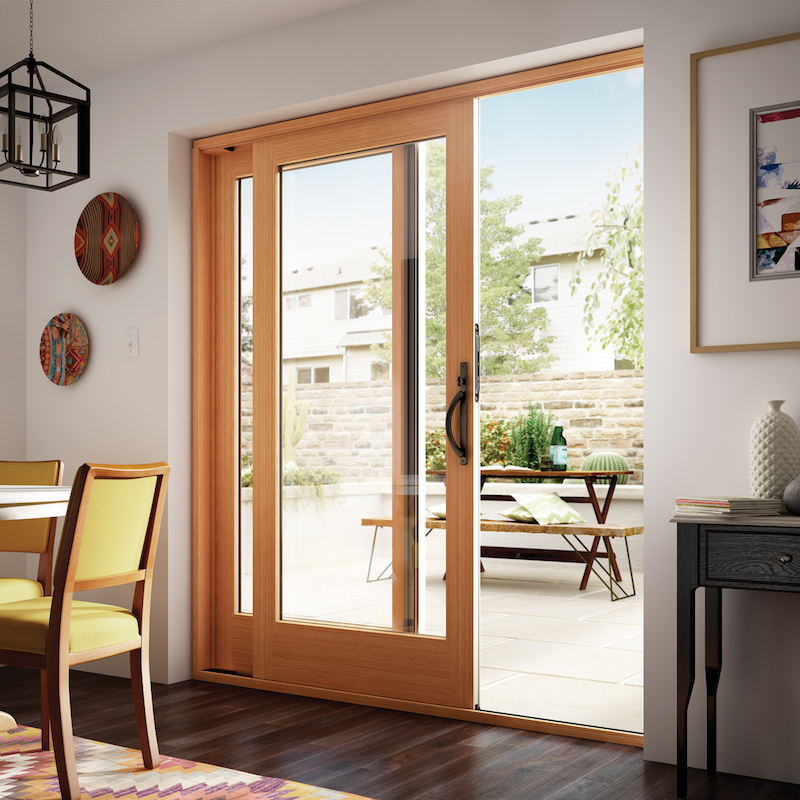 Pine wood, french style sliding patio doors