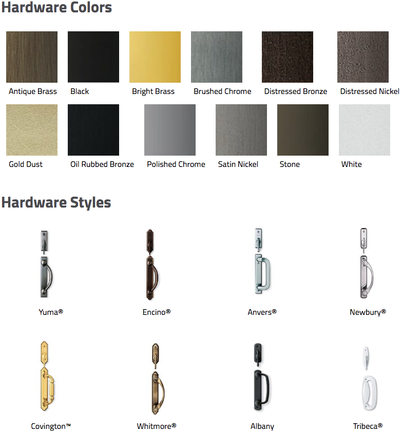 Andersen 200 series and 400 series gliding door hardware finishes and styles.