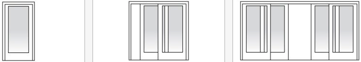 single panel, two-panel, and four-panel sliding door configurations