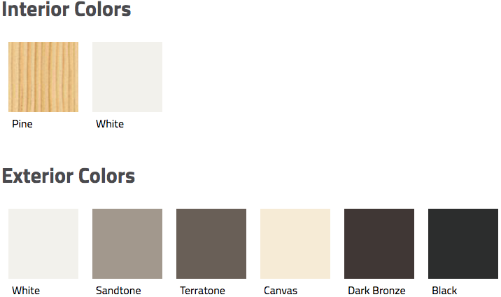 Interior and exterior color swatches for andersen 200 series narroline gliding door.