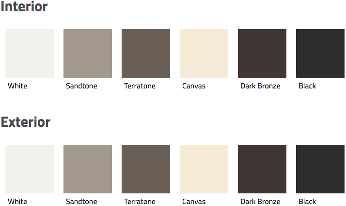 Interior and exterior color swatches for Andersen's 200 Series perma-shield gliding door.