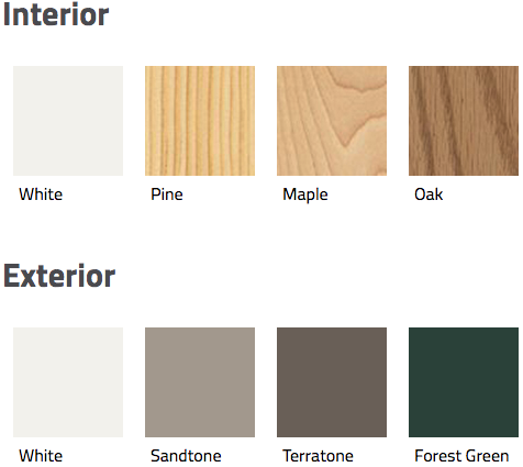 interior and exterior color swatches for andersen's 400 series frenchwood gliding door.
