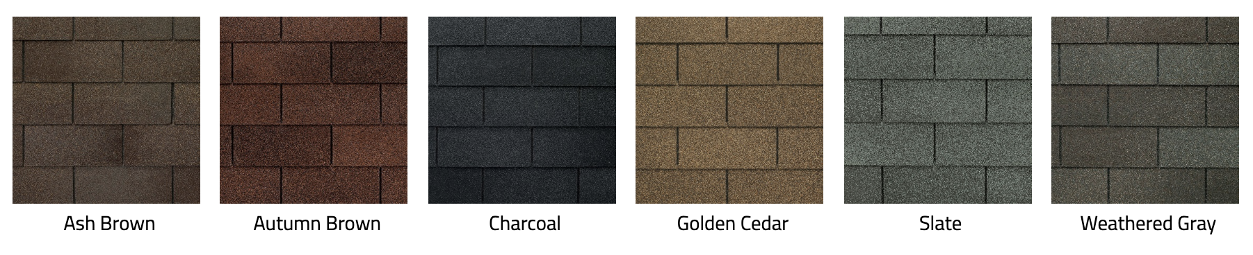ash brown, autumn brown, charcoal, golden cedar, slate, and weathered gray shingles