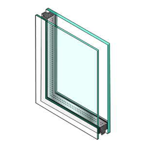Illustration of corner cut of glass unit with dissimilar glass. First pane is thin, second pane is thick.