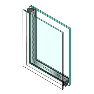 illustrated corner cut of window with laminated glass. The first pane is thin, the second pane is thick with line divider representing laminated layer