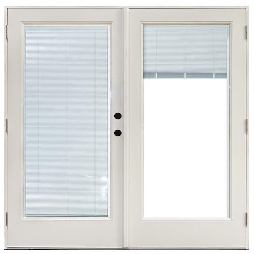 Photo of french door with white built-in blinds.